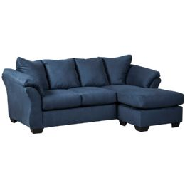 Signature Design by Ashley Darcy Sofa Chaise in Blue Microfiber - Sofas