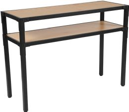 Holmby Collection Knotted Pine Wood Grain Finish Console Table with Black Metal Legs - Sofa
