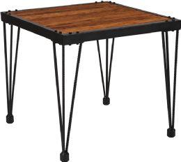 Baldwin Collection Rustic Walnut Burl Wood Grain Finish Side Table with Black Metal Legs - Sofa
