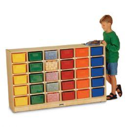 Jonti-Craft 30 Cubbie-Tray Mobile Storage - with Clear Trays - Storage