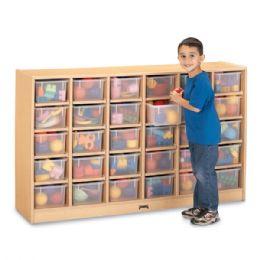MapleWave 30 Cubbie-Tray Mobile Storage - with Clear Trays - Storage