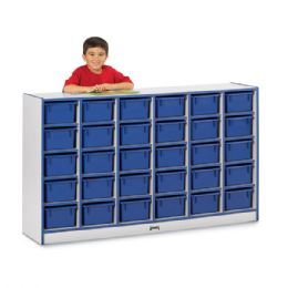 Rainbow Accents 30 Cubbie-Tray Mobile Storage - with Trays - Black - Storage