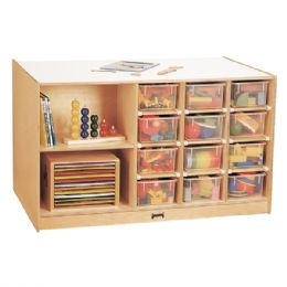 Jonti-Craft Mobile Storage Island - with Clear Trays - Art
