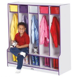 Rainbow Accents 5 Section Coat Locker with Step - Purple - Lockers