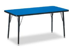 "Berries Rectangle Activity Table - 24"" X 48"", A-height - Blue/Black/Black - Tables"