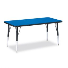 "Berries Rectangle Activity Table - 24"" X 48"", E-height - Blue/Black/Black - Tables"