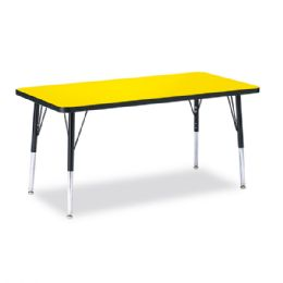 "Berries Rectangle Activity Table - 24"" X 48"", E-height - Yellow/Black/Black - Tables"