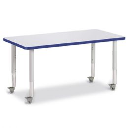"Berries Rectangle Activity Table - 24"" X 48"", Mobile - Gray/Blue/Gray - Berries"