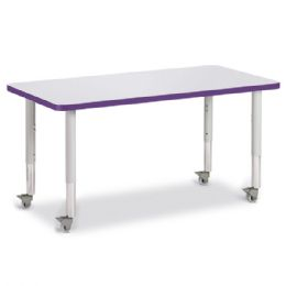 "Berries Rectangle Activity Table - 24"" X 48"", Mobile - Gray/Purple/Gray - Berries"
