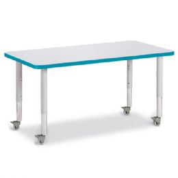 "Berries Rectangle Activity Table - 24"" X 48"", Mobile - Gray/Teal/Gray - Berries"