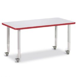 "Berries Rectangle Activity Table - 24"" X 48"", Mobile - Gray/Red/Gray - Berries"
