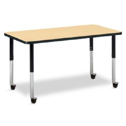 "Berries Rectangle Activity Table - 24"" X 48"", Mobile - Maple/Black/Black - Berries"