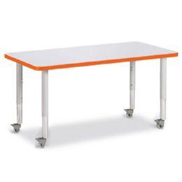 "Berries Rectangle Activity Table - 24"" X 48"", Mobile - Gray/Orange/Gray - Berries"