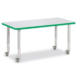 "Berries Rectangle Activity Table - 24"" X 48"", Mobile - Gray/Green/Gray - Berries"
