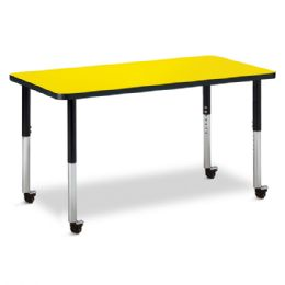 "Berries Rectangle Activity Table - 24"" X 48"", Mobile - Yellow/Black/Black - Berries"