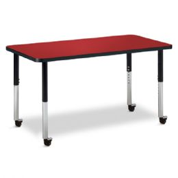"Berries Rectangle Activity Table - 24"" X 48"", Mobile - Red/Black/Black - Berries"