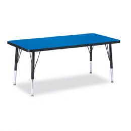 "Berries Rectangle Activity Table - 24"" X 48"", T-height - Blue/Black/Black - Tables"