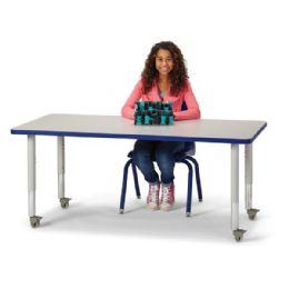"Berries Rectangle Activity Table - 30"" X 60"", Mobile - Gray/Blue/Gray - Berries"