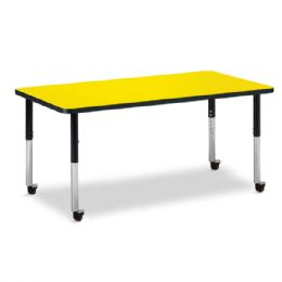 "Berries Rectangle Activity Table - 30"" X 60"", Mobile - Yellow/Black/Black - Berries"