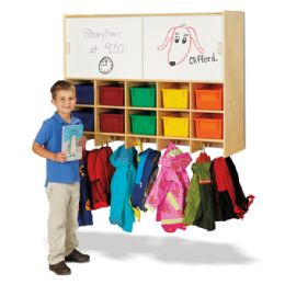 Jonti-Craft 10 Section Wall Mount Coat Locker with Storage  with Colored Cubbie-Trays - Lockers