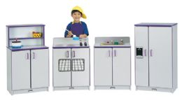Rainbow Accents Play Kitchen 4 Piece Set - Black - Dramatic Play