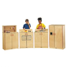 Jonti-Craft School Age Natural Birch Play Kitchen 4 Piece Set - Cubbies