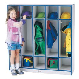 Rainbow Accents 5 Section Coat Locker - Teal - Lockers