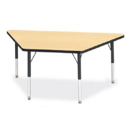 """Berries Trapezoid Activity Tables - 30"""" X 60"""", E-Height - Maple/black/black - Tables"""