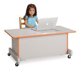 Rainbow Accents Apollo Single Computer Desk - Orange - STEM