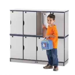 Rainbow Accents Stacking Lockable Lockers -  Double Stack - Navy - Cubbies