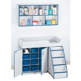Rainbow Accents Diaper Changer With Stairs - Right - Blue - Toddlers Infants