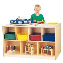 Jonti-Craft Mobile Twin Storage Island - with Colored Trays - Art