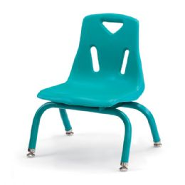 "Berries Stacking Chairs with Powder-Coated Legs - 8"" Ht - Set of 6 - Teal - Seating"