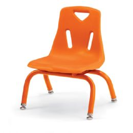 "Berries Stacking Chairs with Powder-Coated Legs - 8"" Ht - Set of 6 - Orange - Seating"
