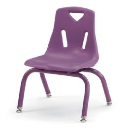 "Berries Stacking Chair with Powder-Coated Legs - 10"" Ht - Purple - Seating"