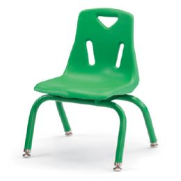"Berries Stacking Chair with Powder-Coated Legs - 10"" Ht - Green - Seating"