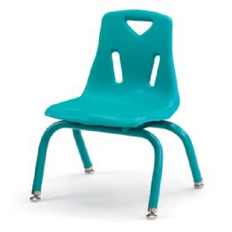 "Berries Stacking Chairs with Powder-Coated Legs - 10"" Ht - Set of 6 - Teal - Seating"