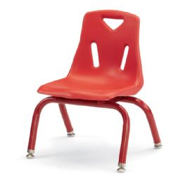 "Berries Stacking Chairs with Powder-Coated Legs - 10"" Ht - Set of 6 - Red - Seating"