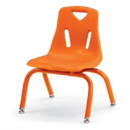 "Berries Stacking Chairs with Powder-Coated Legs - 10"" Ht - Set of 6 - Orange - Seating"