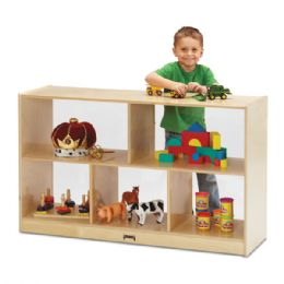 Jonti-Craft Low Single Mobile Storage Unit - See-Thru Back - Block Play