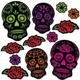 12 Units of Day Of The Dead Sugar Skull Cutouts prtd 2 sides - Store