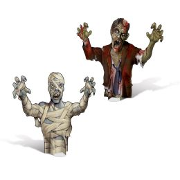 12 Units of 3-D Mummy & Zombie Centerpieces Assembly Required - Party Center Pieces