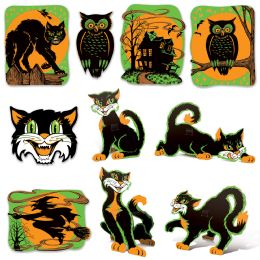 12 Units of Vintage Halloween Fluorescent Cutouts prtd 2 sides - Store