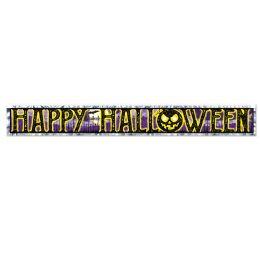 12 Units of Metallic Happy Halloween Fringe Banner prtd 1-ply PVC fringe - Store