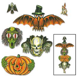 12 Units of Vintage Halloween Totem Pole Cutouts prtd 2 sides; can be used together or separately - Store
