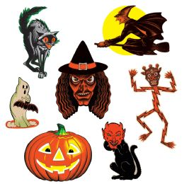 12 Units of Vintage Halloween Classic Cutouts prtd 2 sides - Store