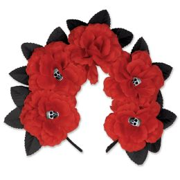 12 Units of Day Of The Dead Red Floral Headband Attached To SnaP-On Headband - Costumes & Accessories
