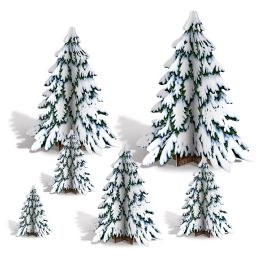 12 Units of 3-D Winter Pine Tree Centerpieces Assembly Required - Party Center Pieces