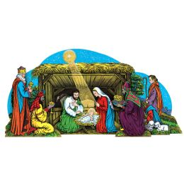 12 Units of Vntg Xmas Gltrd Nativity Scenetable Dec W/selF-Locking Easel; Assembly Required - Party Center Pieces