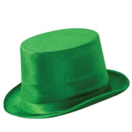 12 Units of Green VeL-Felt Top Hat One Size Fits Most - Costumes & Accessories
